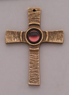 Kreuz aus Bronze Stein rot 7, 5 cm Kommunion Schmuckkreuz Jürgen Peters