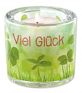 Glaswindlicht Viel Glück Teelicht Kerzenhalter Geschenkbox Glas für Windlicht