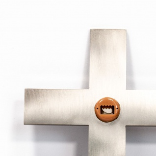 Wandkreuz schlicht Edelstahl Kreuz mattiert goldfarbene Messing-Intarsie - Vorschau 2