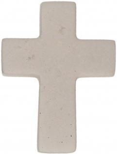 Feinbeton Kreuz Kruzifix 4, 3 cm hellgrau Kühlschrankmagnet auf Backcard