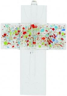 Wandkreuz Fusing-Glas 12, 5 cm Kruzifix Kreuz Geschenkverpackung