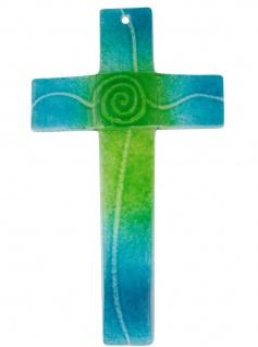 Glaskreuz Spirale türkis grün Fusing Glas Handarbeit 20cm Wandkreuz Unikat