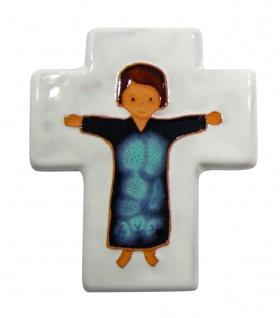 Kinderkreuz Keramik weiß mit Kind 12 cm Wandkreuz