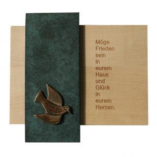 Haussegen Möge Frieden sein in eurem Haus 14 cm Bronze Holz Einzug Umzug Taube