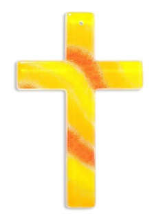 Kreuz aus Glas Fusing Glas Kreuz Handarbeit gelb orange 20 cm Wandkreuz