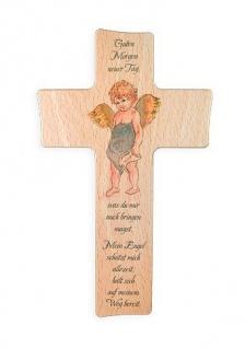 Kinderkreuz Guten Morgen neuer Tag Buche 15 cm 20 cm Wandkreuz Holz Kreuz Junge