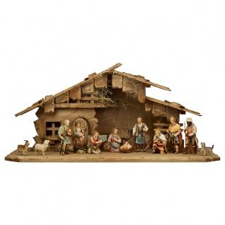 Hirten Krippe Set 16 Teile Holzfigur geschnitzt Südtirol Weihnachtskrippe