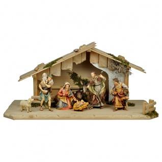 Ulrich Krippe Set 10 Teile Holzfigur geschnitzt Südtirol Weihnachtskrippe