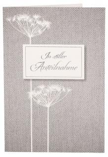 Trauerkarte In stiller Anteilnahme (6 St) Blumen Papier Grußkarte Kuvert
