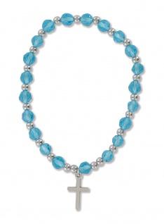 Armband blaue Perlen Metallkruzifix Ø 6 cm Kreuz Christlicher Armschmuck