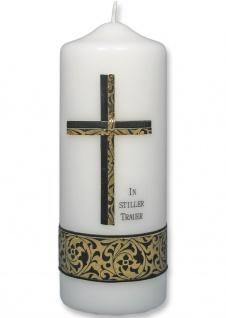 Trauerkerze In stiller Trauer Kreuz Schwarz Gold 22 cm Handarbeit Tischkerze