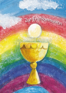 Postkarte Zur Erstkommunion (10 St) Kelch und Regenbogen Grußkarte Adressfeld