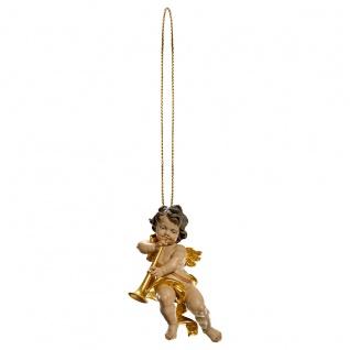 Putte mit Posaune und Goldfaden Holzfigur geschnitzt Südtirol Puttenfigur