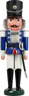 Nussknacker Husar blau 60 cm Holz-Figur Handarbeit aus Seiffen im Erzgebirge