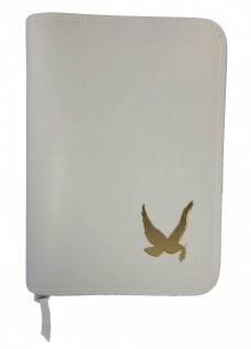 Gotteslobhülle Taube mit Olivenzweig Kunstleder Weiß Gesangbuch Einband