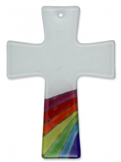 Kreuz aus Glas Regenbogen Fusing Glas Kreuz Handarbeit weiss 13 x 9 cm