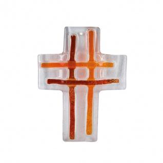 Kreuz aus Glas Streifen orange Fusing Kreuz Handarbeit 13 cm Wandkreuz