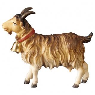 Ziege mit Glocke Holzfigur geschnitzt Südtirol Krippenfigur Ulrich Krippe