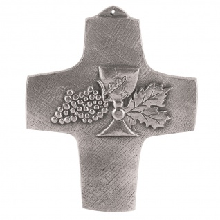 Wandkreuz Kelch Kreuz Neusilber 11 cm Schmuckkreuz Kommunion Silberbronze - Vorschau 1