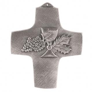 Wandkreuz Kelch Kreuz Neusilber 11 cm Schmuckkreuz Kommunion Silberbronze