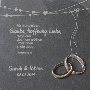 Wandrelief Hochzeit Glaube Liebe Hoffnung + Namensgravur Schiefertafel