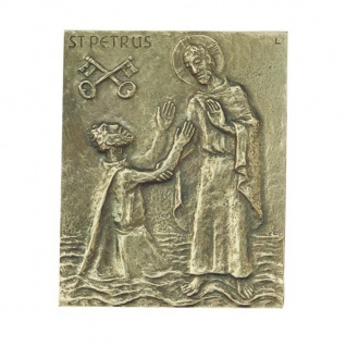 Namenstag Petrus Peter Petra Pit 13 x 10 cm Bronzerelief Wandbild Schutzpatron