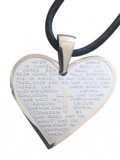 Vater Unser Gebet Herz Anhänger 3 cm Edelstahl Lederband Religiöser Schmuck