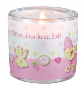 Glaswindlicht zur Geburt Mädchen, inkl. Teelicht Kerzenhalter Glas für Windlicht