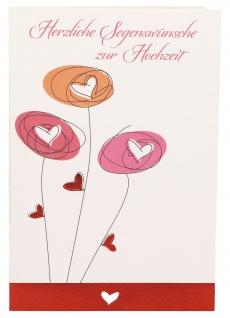Glückwunschkarte Herzliche Segenswünsche zur Hochzeit (6 St) Blumen Lutherbibel