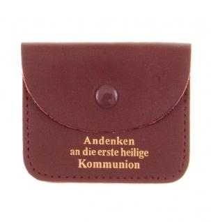 Leder Rosenkranz Tasche Kommunion Goldprägung Schmucketui