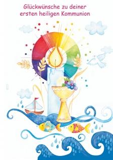 Glückwunschkarte Glückwünsche zu deiner ersten heiligen Kommunion (6 Stück)