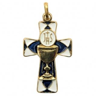 Kreuz Anhänger Kommunion Hostie Kelch Blau Gold 4, 5 cm PX Metall mit Lederband