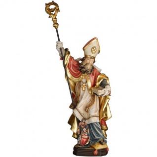 Heiliger Marcellus mit Krippe Holzfigur geschnitzt Südtirol Schutzpatron Bischof