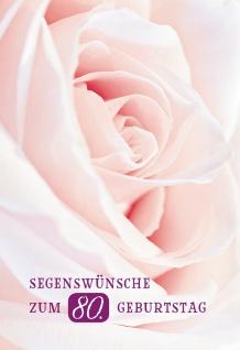 Glückwunschkarte Segenswünsche zum 80. Geburtstag (6 St) Rose Psalm Lutherbibel