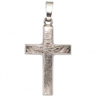 Anhänger Kreuz 375 Gold Weißgold eismatt Kreuzanhänger Goldkreuz