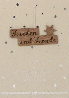 Weihnachtskarte Stern-Anhänger Holz (5 Stück) Kuvert Naturpapier Frieden