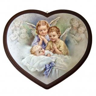 Schutzengel Bild Herz Engel beten bewachen das Baby 16 cm Wandbild Kinderzimmer