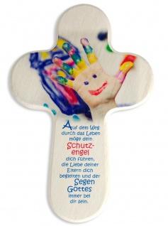 Kinderkreuz Schutzengelgebet bemalte Hand Naturholz 16 cm Wandkreuz Holzkreuz