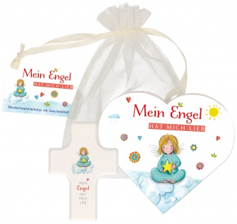 Geschenkset Handschmeichler Kreuz Herz-Heft Engel Organza-Beutel