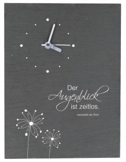 Wanduhr Der Augenblick da Vinci Schiefer Quarzwerk 29 cm Schiefertafel