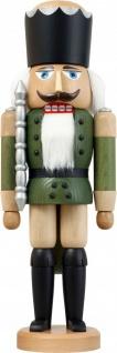 Nussknacker König Esche lasiert grün 39 cm Holz-Figur Handarbeit Erzgebirge
