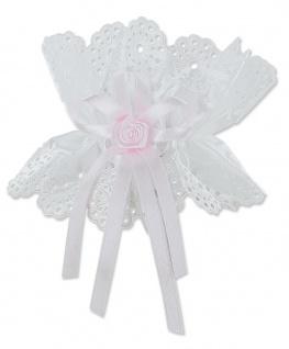 Kerzenröckchen Satin weiß 10 cm Schleife rosa Rose Mädchen Taufkerze Tropfschutz