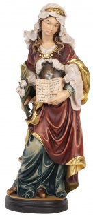 Heilige Silvia Holzfigur geschnitzt Südtirol Schutzpatronin Mutter Einsiedlerin