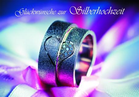 Hochzeitskarte Glückwünsche zur Silberhochzeit (6 Stck) Grusskarte Kuvert