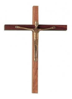 Wandkreuz Kruzifix Nussbaum 30 cm Jesus Bronze Korpus Holzkreuz Kreuz Fischbach