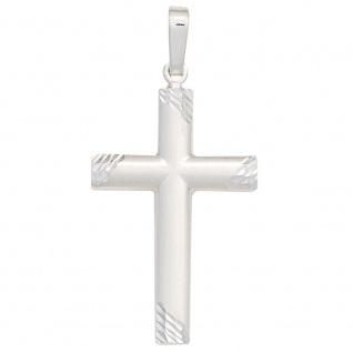 Schmuck Kreuz Anhänger 925 Sterling Silber mattiert Schmuckkreuz