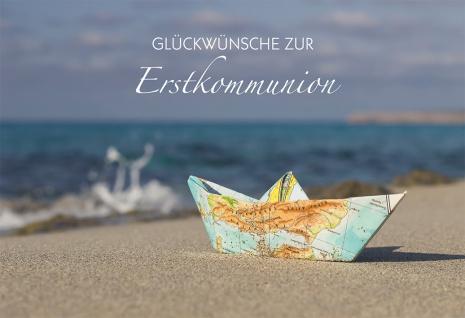 Glückwunschkarte Papierboot Glückwünsche zur Erstkommunion (6 Stück) Grußkarte