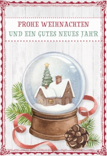 Glückwunschkarte Frohe Weihnachten (6 Stück) Schneekugel Grußkarte Kuvert