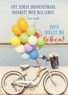 Postkarte Geburtstag Fahrrad Luftballons 10 St Adressfeld Leben Sonne Freizeit