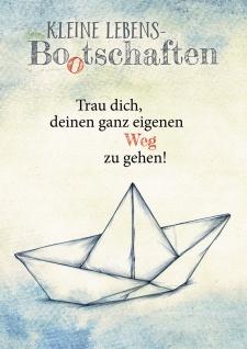 Postkarte Kleine Lebens Bootschaften (10 St) Papierboot Nicole Weidner Grußkarte